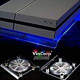 VINCORP USB Design Kühler ' Blau ' LED 19cm Lüfter & Ständer Stand für Playstation 4 / 3 sowie PS4 Pro und Slim Variante