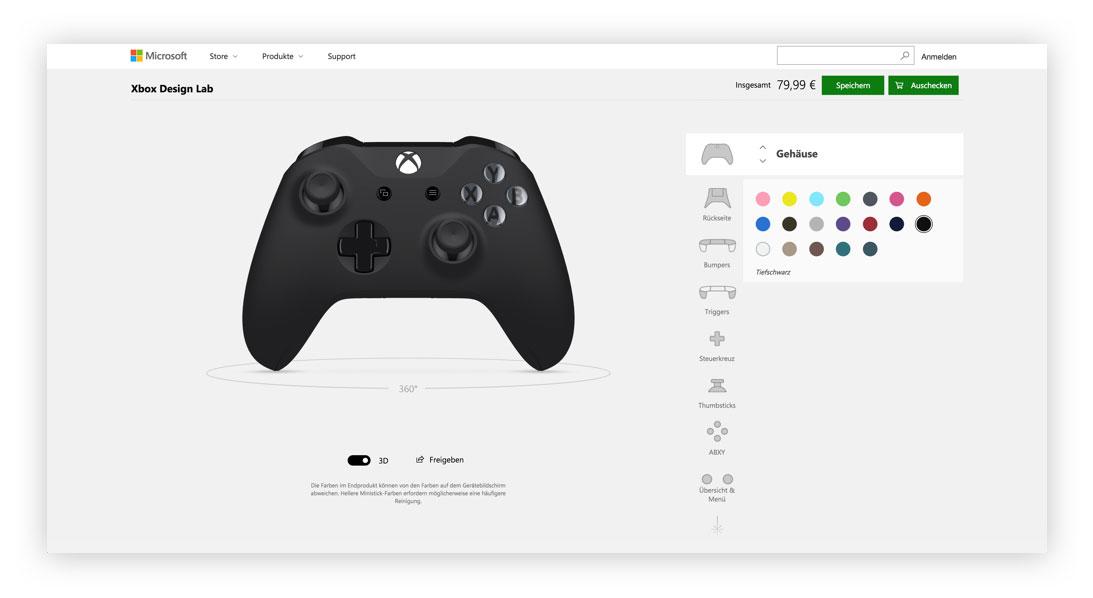 Controller im Xbox Design Lab gestalten