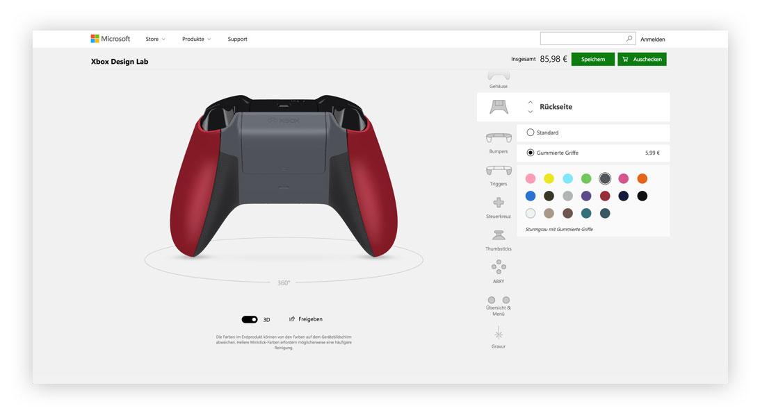 Xbox Design Lab Controller Rückseite designen