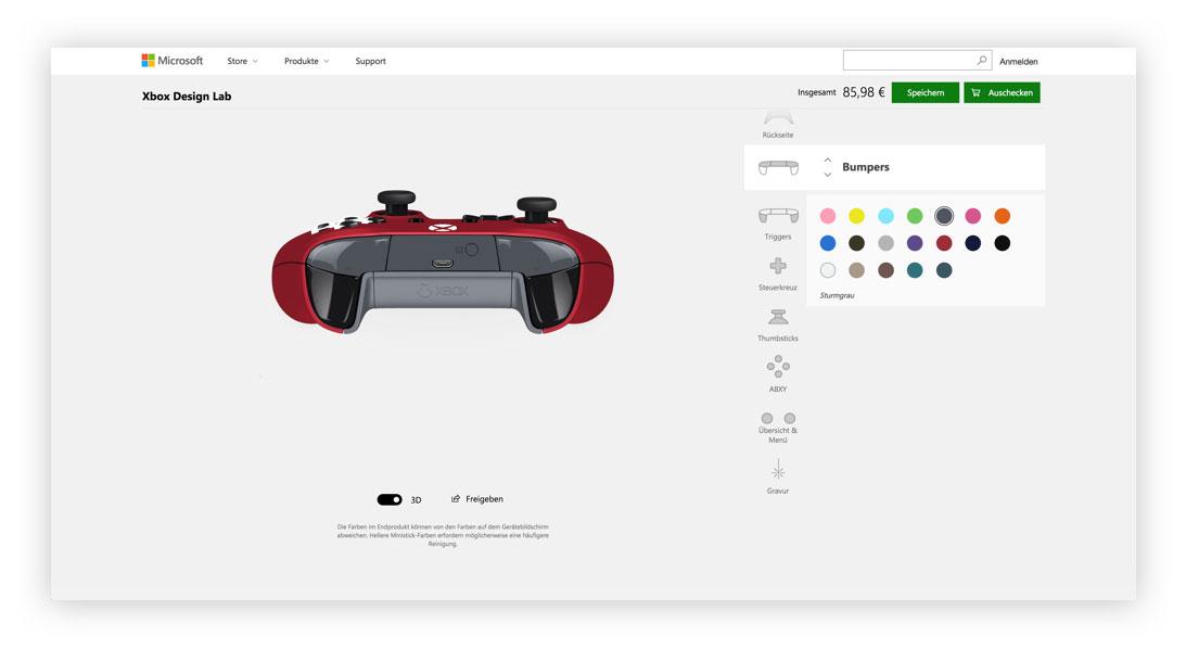 Xbox Design Lab Bumper Designen