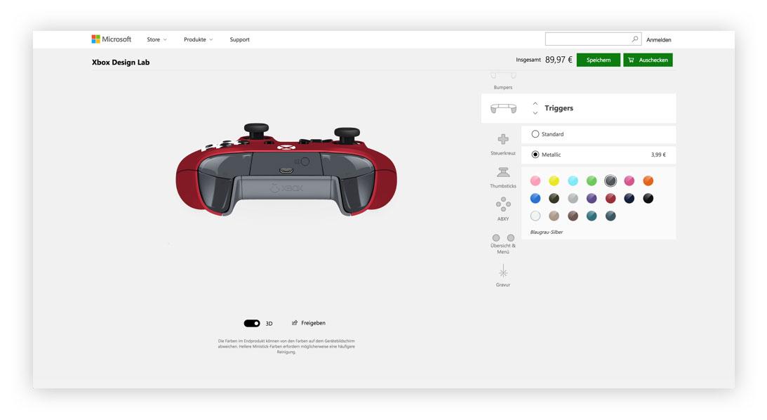 Xbox Design Lab Trigger Designen
