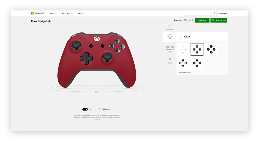 Xbox Design Lab Action-Buttons Designen