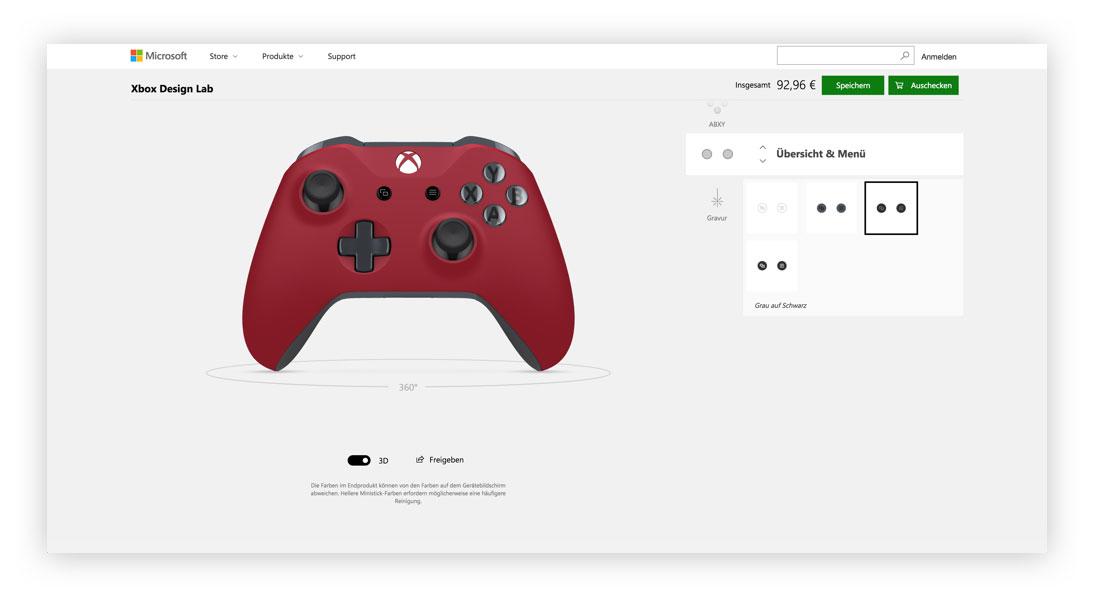Xbox Design Lab Menü-Tasten Designen